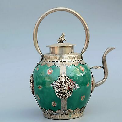 Collectable Old Miao Silver Armour Porcelain Carve Dragon & Monkey Noble Tea Pot