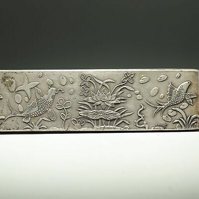 Collectable China Handwork Carve Fish & Lotus Auspicious Miao Silver Paperweight