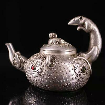 Collect Old Miao Silver Inlay Agate Hand-Carved Myth Dragon & Mouse Luck Tea Pot