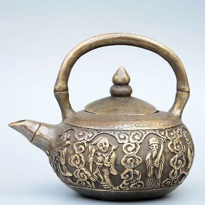 Collect China Old Bronze Hand-Carved Eight Immortals Moral Auspicious Tea Pot