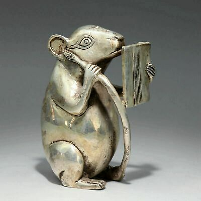 Collectable China Old Miao Silver Hand-Carved Mouse Look Book Delicate Statue