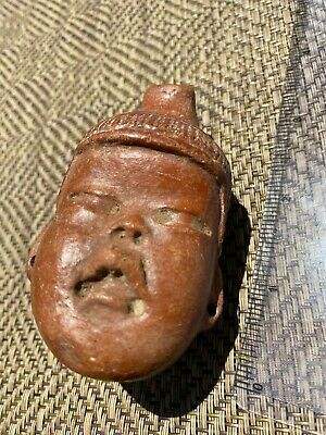 Pre-Colombian Mexican Art - Olmec - Baby face pottery whistle