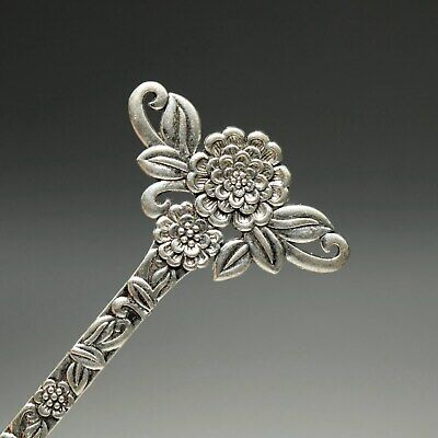 Collect China Old Miao Silver Hand-Carved Bloomy Flower Delicate Noble Hairpin