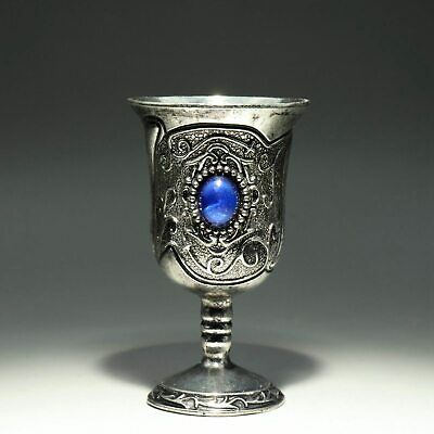 Collect Old Miao Silver Armour Zircon Hand-Carved Bloomy Flower Noble Wine Cup