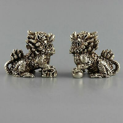 Collect China Old Miao Silver Carve Myth Kylin A Pair Bring Luck Delicate Statue