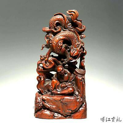 Collectable China Old Boxwood Hand-Carved Dragon Arhat Exorcism Buddhism Statue