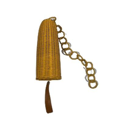 Vintage Wicker Basket Hanging Wind Chime Temple Bell Yellow 10 Inches