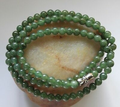 "Certified Natural Grade A Icy Green Jadeite Jade Small Beads Necklace 20"" #N261"