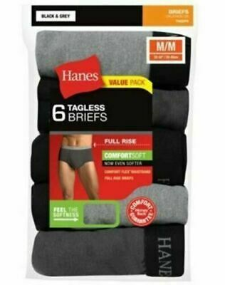 6-Pack Hanes Men's TAGLESS ComfortSoft Full Rise Dyed Briefs - Assorted - S-XL