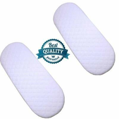 Pack 2 Quilted Moses Basket Pram Mattress Soft Breathable Oval 75 X 24 X 3.5 CM