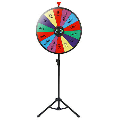 "24"" Prize Wheel Tripod Floor Stand Editable Durable Acrylic Board for Party"