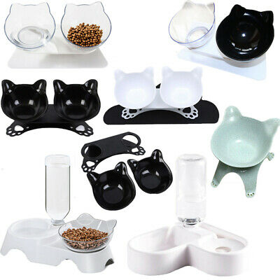 Dog Cat Double Bowl W/Raised Stand Pet Feeding Station Water Dispenser Food Dish
