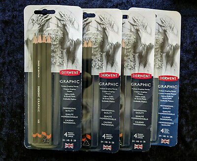 Derwent Graphic Medium Graphite Pencils 2H HB B and 2B joblot of 4 packs.