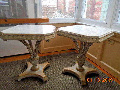 """2 Grosfeld House """"PLUME"""" carved wood,painted & marble top SIDE TABLES"""