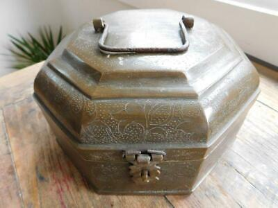 Beautiful Heavy Walled Middle East Persian Hexagonal Spice Utility Box 1800s