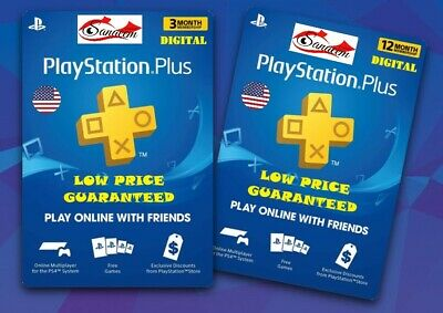 PlayStation Plus PSN Membership USA 90 days 365 days Digital Code PS3 PS4 VITA