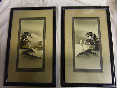 Pair Of Old Japanese Print/ Picture In Frames