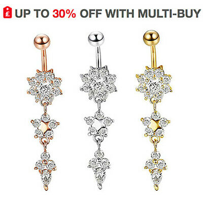 Dangly Flower Belly Button Bars Navel Rings Dangle Drop Body Piericng Jewellery