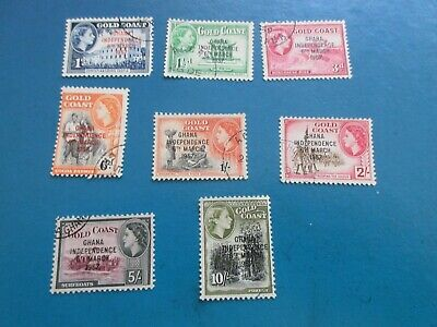 Ghana 1957 Independence set Overprint part set to 10/- (8stamps) Used.