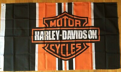 Harley Davidson Orange Bar And Shield Flag Banner 3 X 5 ft with grommets