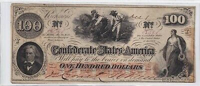 $100 Confederate Currency 1862 Hoer