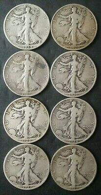 Lot of Eight 50c Walking Liberty Silver Half Dollars