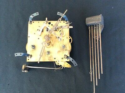 Mantel Clock Movement Mechanism Westminster Chimes and Chime Rods and Hands