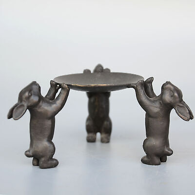 Collect Old Bronze Carve Three Little Lovely Rabbit Statue Delicate Candelabrum