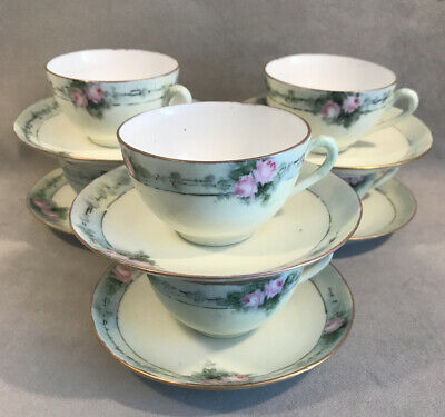PV04651 Antique Hand Painted Porcelain M&C Austria PINK ROSES- Cups & Saucers