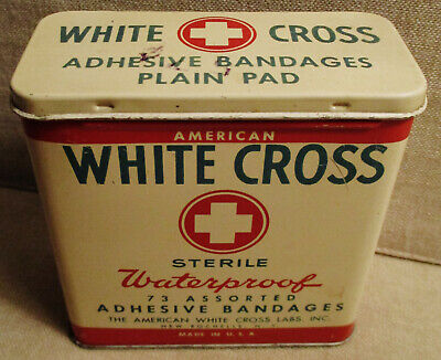 Vintage Advertising Tin-AMERICAN WHITE CROSS BANDAGES Can-First Aid-Medical