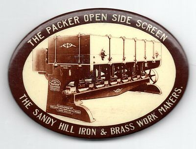 Old SANDY HILL IRON & BRASS WORK Makers THE PACKER Advertising Pocket Mirror