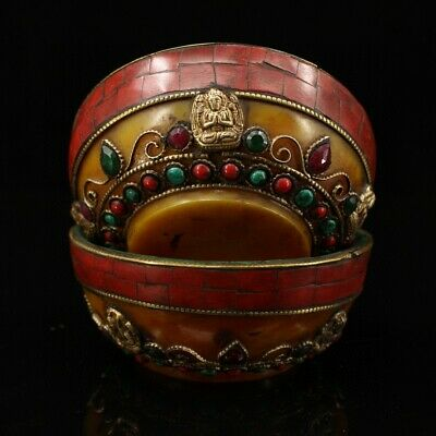 Collect China Antique Brass Armour Amber & Gem Hand Carve A Pair Bring Luck Bowl