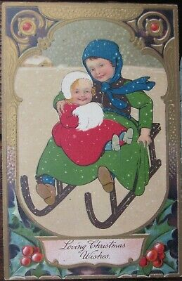 LOVING CHRISTMAS WISHES TWO CHILDREN RIDING AN OLD WOODEN SLED 1909 Germany