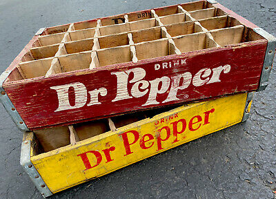 2 Vintage Drink Dr Pepper Wood Soda Pop Crates 24 Dividers Charleston SC
