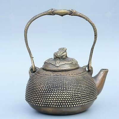 Collectable China Old Bronze Hand-Carved Toad & Wealth Moral Bring Luck Tea Pot