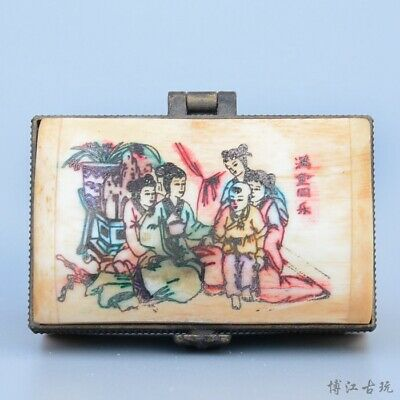 Collectable China Old 0x B0ne Hand-Carved Fairy Delicate Unique Noble Jewel Box