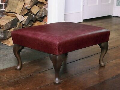 Chesterfield Queen Anne Footstool in Vintage Red Leather Handmade in England
