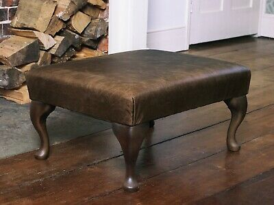 Chesterfield Queen Anne Footstool in Vintage Brown Leather Handmade in England