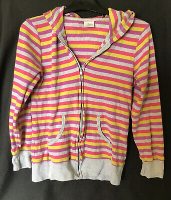 ✨🔺🔸Girls Next Candy Striped Hoodie Age 15 Grey Ribbed Zipped. 🔸🔺✨