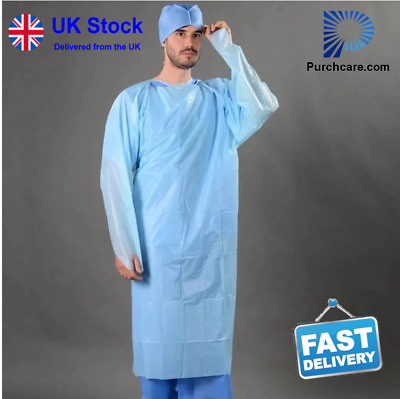 Disposable Durable Isolation Gown Blue Protection apron Clothing open back - X10