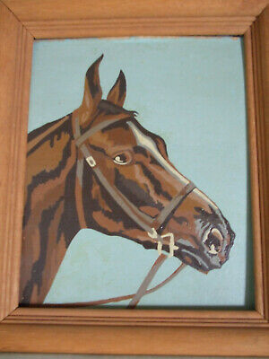 Vintage  Paint by number 8x10 framed horse picture, pre-owned, wire for hanging