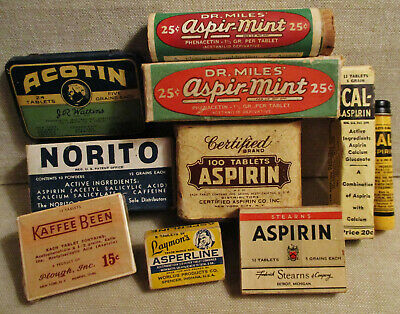 8 Vintage MEDICINE ASPIRIN Advertising-WATKINS TIN-Plough-Laymon-Dr. Miles-Boxes