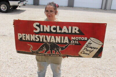 """Large Sinclair Pennsylvania Motor Oil In Cans Gas Station 48"""" Metal Sign"""