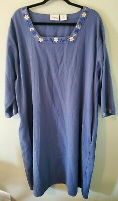The Vermont Country Store Women's Plus Size 3X Blue Embroidered Nightgown Caftan