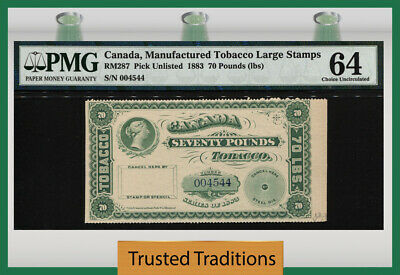 Tt 1883 Canada Manufactured Tobacco Large Stamps 70 Pounds Queen Victoria Pmg 64