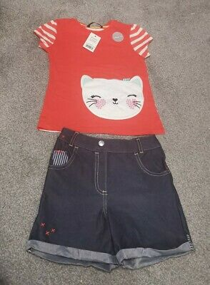 Girls Shorts & Top Outfit Age 4-5 Yrs Bnwt