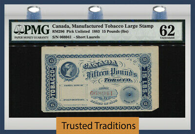 Tt 1883 Canada Manufactured Tobacco Large Stamp 15 Pounds Queen Victoria Pmg 62!