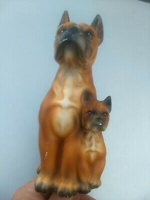 Rare Mother Puppy Boxer Dog Figurine Statue Tagged Japan Wales 9 Inches Tall!!!