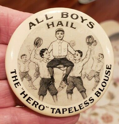 "Early 1900's ""HERO"" Tapeless Blouse for Boys  Pocket Advertising Mirror"