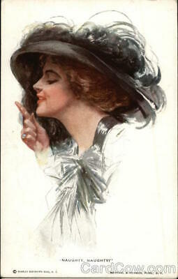 "1912 Harrison Fisher ""Naughty,Naughty"" Woman in large Black Hat Postcard Vintage"